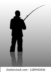 Fisherman silhouette with a fishing rod. Vector illustration.
