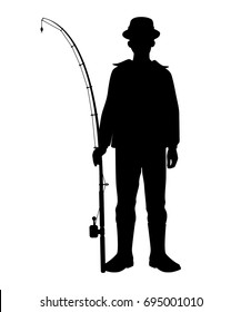 Fisherman silhouette vector