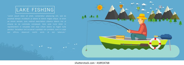 Fisherman sitting in the boat and fishing rod is fishing on boat. Vector flat illustration