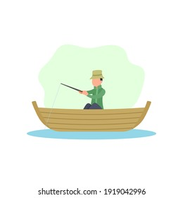 Fisherman sitting on boat holding rod. Fishing activity. Man catching fish. Seafood concept. Fishery business industry. Outdoor recreation equipment. Human hobby. Flat vector character illustration.