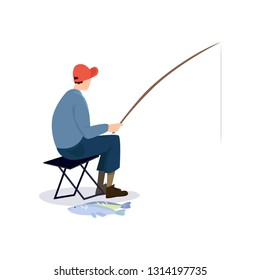 Fisherman Sitting on Folding Chair, Male Fisher Character with Fishing Rod and Caught Fish Vector Illustration