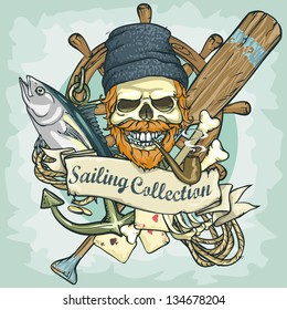 Fisherman skull logo design - Sailing Collection, Vector Illustration with sample text