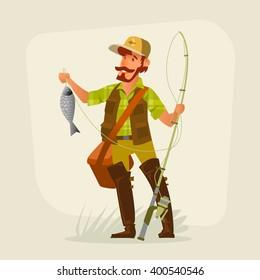 Fisherman smiling. Vector illustration.