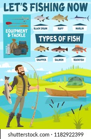 Fisherman standing on river bank with catch fish, rod, boat, tackle, black drum and snapper, salmon and marlin, ruff and fishing camp. Fishing sport poster. Fisherman equipment and chart of fish ty