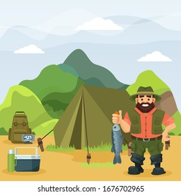 Fisherman stands holds caught fish on nature vector illustration. Cartoon character at outdoors fishing activity near tent. Backpack, echo sounder, lunchbox, thermos. Mountain, forest landscape.