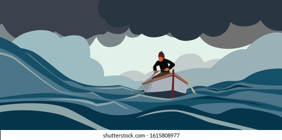 Fisherman in turbulent sea with storm clouds