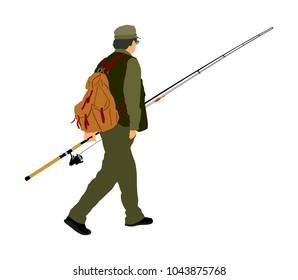 Fisherman vector  illustration isolated on white background. Outdoor leisure activity. Senior man go to fishing.