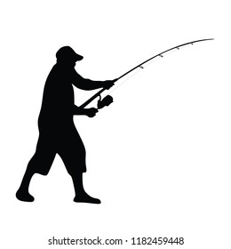 Fisherman vector illustration isolated on white background. Outdoor leisure activity. Senior man go to fishing. Nature sport. Fisher man with fishing rod go to the river.