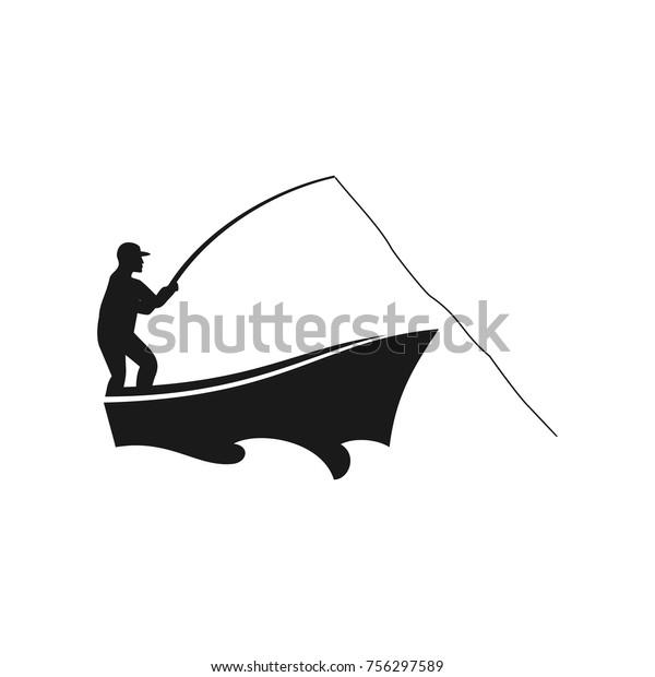 fisherman vector logo stock vector royalty free 756297589 https www shutterstock com image vector fisherman vector logo 756297589