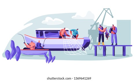 Fisherman Working on Fishery Industry on Large Boat Ship. Fishermen Catching Fish, Pulling Fishing Net from Sea, Giving Catch Haul to Customer, Fishing Industry. Cartoon Flat Vector Illustration