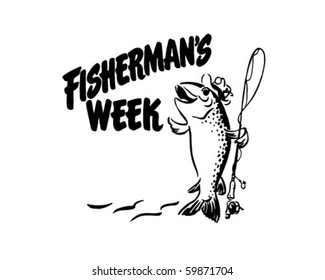 Fisherman's Week - Header - Retro Clip Art