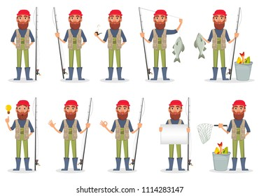 Fishermen with fishing rod and fish. Fisher cartoon character set. Pack of 10 poses with various equipment. Vector illustration