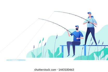 Fishermen at river bank. Fishing sport, outdoor summer recreation, leisure time. Vector illustration.