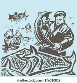 Fishermen at sea take fish through the seine vector illustration