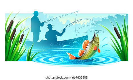 Fishermen silhouettes fishing in boat on river catched big fish. Mist floats rods and reeds. Morning landscape dawn. Banner isolated white background. Eps10 vector illustration.