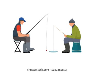 Fishers calmly sitting on stools talking about hobby. Fishing people with rod waiting to catch limbless animal from river or lake vector illustration