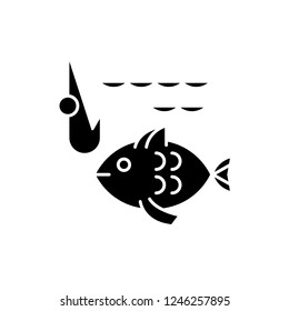 Fishery black icon, vector sign on isolated background. Fishery concept symbol, illustration