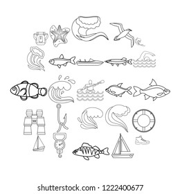Fishery icons set. Outline set of 25 fishery vector icons for web isolated on white background