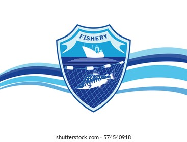 Fishery industry emblem, logo, design. Fishing vessel, fish salmon and network on a background with shield and waves.