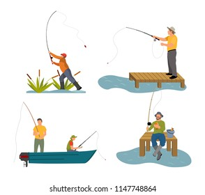 Fishery rod in mans hand. People in boat floating catching fish. Sport and hobby of males, dock by lake or river set isolated on vector illustration