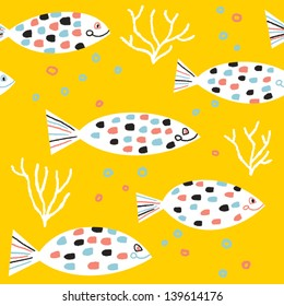 Fishes and colored bubbles vector seamless pattern