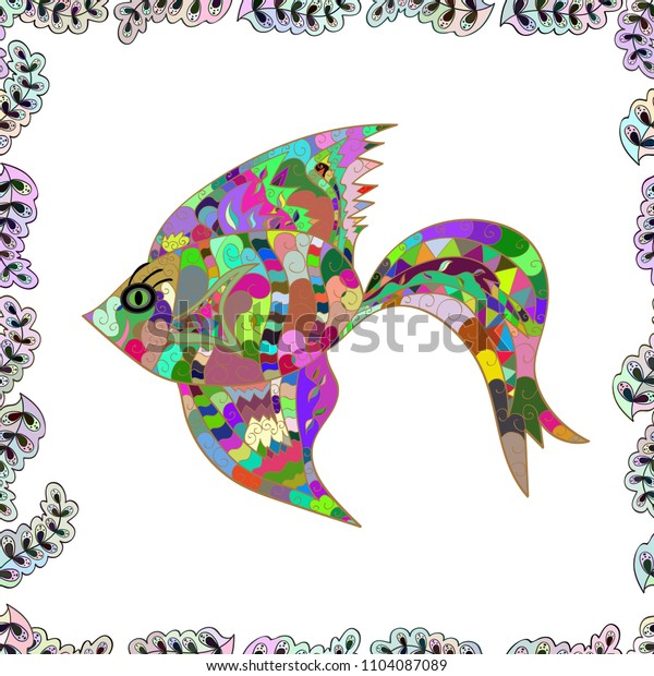 Fishes on white, neutral and green. Vector illustration. Seamless pattern of ornamental fish.