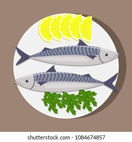 Fishes on white plate with lemon and herbs. Cooking of mackerel. Vector flat illustration
