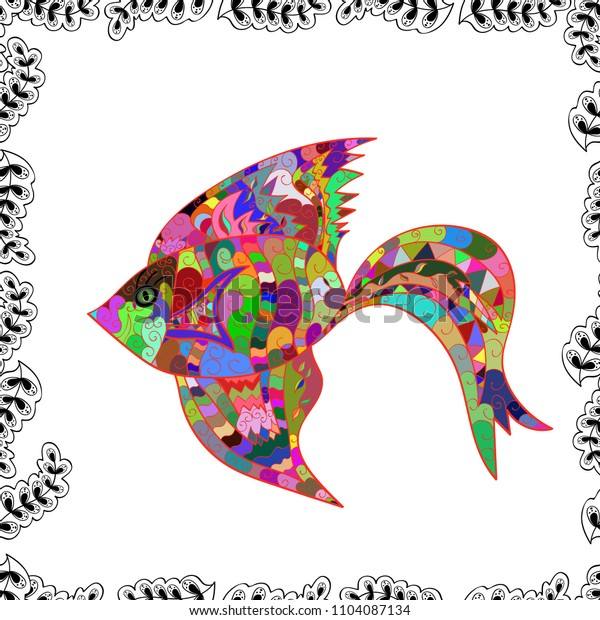 Fishes on white, red and green colors. Cute texture fish pattern. Vector illustration. Seamless colorful background.
