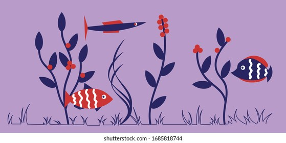 Fishes in the sea. Panoramic border.
