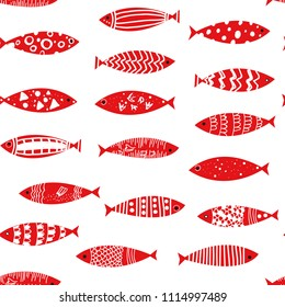 Fishes seamless pattern in doodle style, vector graphic illustration