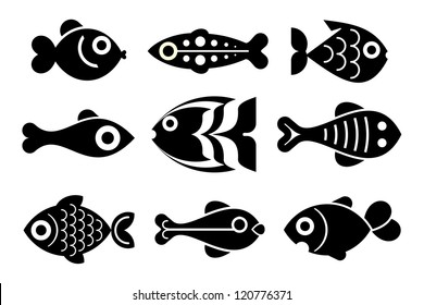 Fishes - set of isolated vector icons. Black on white background.