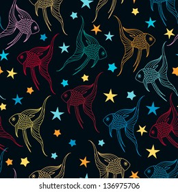 Fishes vector seamless pattern.