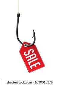 Fishhook business concept - sale symbol as trap