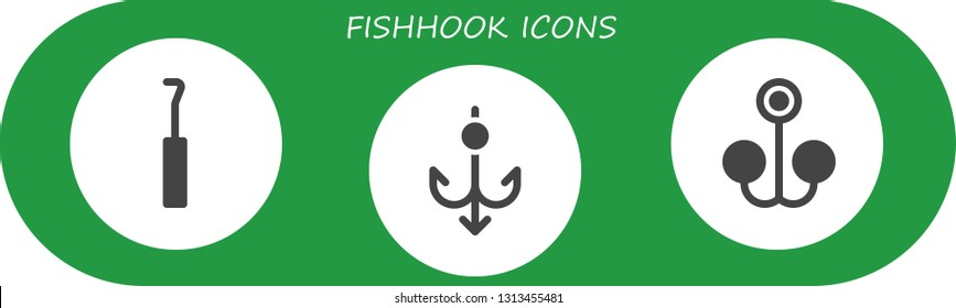 fishhook icon set. 3 filled fishhook icons.  Simple modern icons about  - Hook, Bait