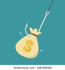 Fishhook with money bag. Money as trap business concept