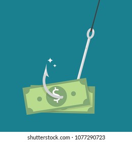 Fishhook with money. Money as trap business concept