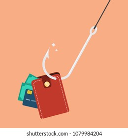 Fishhook with wallet. Business concept