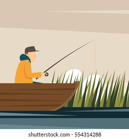 Fishing Adult Fisherman Fishing Rod Isolated Concept Character