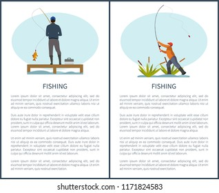 Fishing or angling hobby or sport activity poster with text sample. Man with spinning and fish on pier or dock and fishman in reed throwing rod gear.