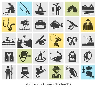 fishing, angling vector logo design template. fisherman, fish or sport, recreation icons