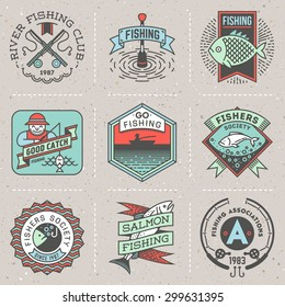 Fishing Assorted Retro Design Insignias Color Logotypes Set . Vector Elements Illustrations.