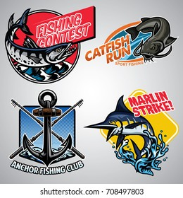 Fishing badge design collection colored