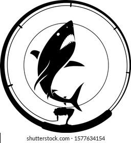 fishing badge with shark and fishing rod