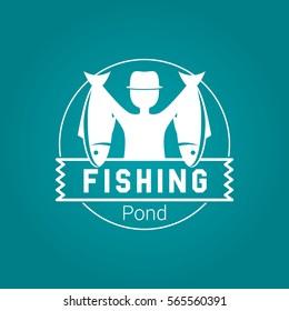 Fishing Badge White Vector Logo
