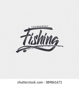 Fishing badges sign handmade differences, made using calligraphy and lettering It can be used as insignia badge logo design