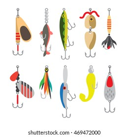 Fishing bait. Fish lure with hook flat icons isolated on white background. Vector illustration