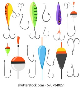 Fishing bait. Fish lure with hook flat icons isolated on white background. Vector illustration Web site page and mobile app design vector element