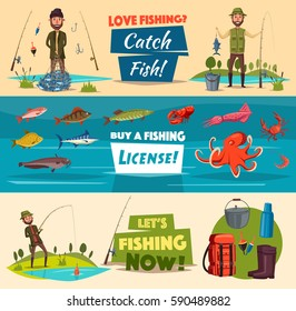 Fishing banner set with fishermen and fish. Fisherman with catch, spinning rod, hook and net, sea and river fish, octopus, crab, squid, shrimp and lobster, fishing gear and tourist equipment.