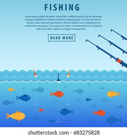 Fishing banner. Three abandoned fishing rods with a float. The concept of fishing, fish under water. Vector illustration of a flat