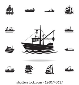 fishing barge icon. Detailed set of ship icons. Premium graphic design. One of the collection icons for websites, web design, mobile app